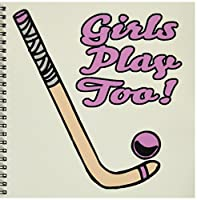 (8x8 drawing book) - Dooni Designs Sports And Hobbies Designs - Girls Play Too Pink Field Hockey Stick And Ball Sports Design - Drawing Book