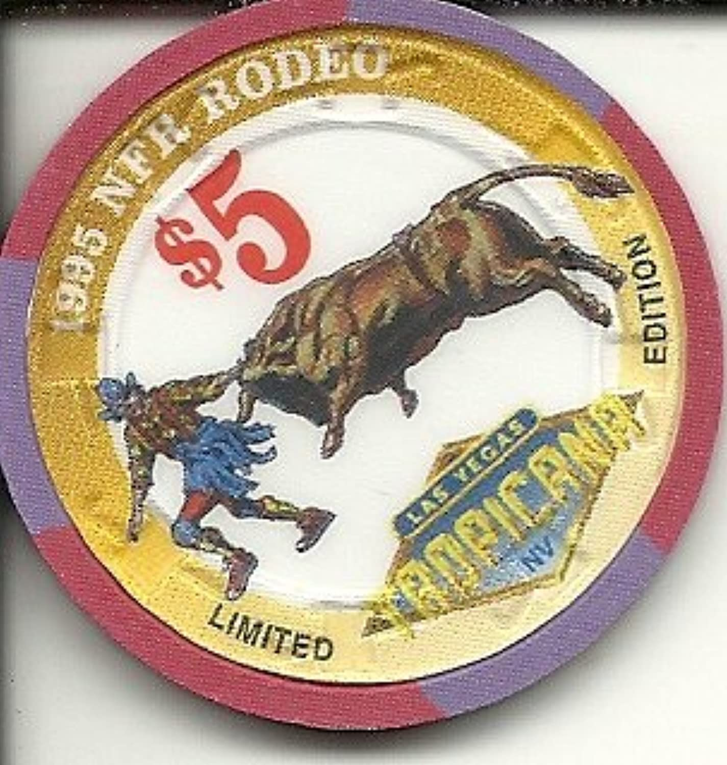 $ 5 Tropicana 1995 NFRバックルラスベガスカジノチップLimited Edition National Finals Rodeo