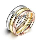 Rockyu ジュエリー ブランド メンズ レディース リング チタン ダイヤ 金 18k ピンクゴールド 指輪