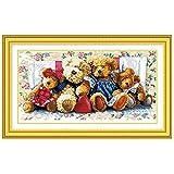 Anself DIY クロスステッチセット 刺繍キット 精密プリント ベアーファミリーデザイン 66*38cm ホームの装飾