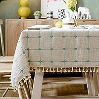 コットンリネン 格子 テーブル,な 防塵 テーブルカバー,家具プロテクター ビュッフェ テーブルに最適 第三者 バーベキューの もっとその-I 90x130cm(35x51inch)