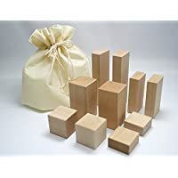 高級国産白木積み木 巾着型収納袋付き 10個入り Bセット