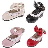 SONONIA 4ペア 4色 人形 ドール用 かわいい 手作り PUレザー アンクル ベルト 靴 シューズ 12インチ ブライスドール対応 装飾