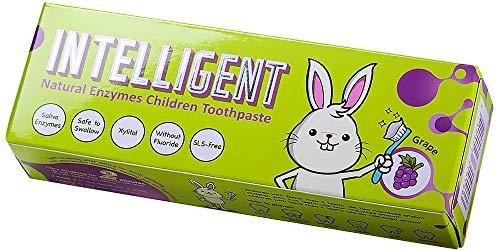 Technology Corp INTELLIGENT天然の唾液酵素のベビー歯磨き粉子供用、 フッ素なし、発泡剤不使用、 ぶどうの味 40g(辛くない,ミントなし) (ぶどう 40g, 1匹)
