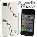 [SoftBank/au iPhone 4S/4専用]TREXTA 本革張りハードケース スポーツ(ベースボール)