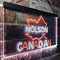 Molson Canadian Beer Bar LED看板 ネオンサイン バーライト 電飾 ビールバー 広告用標識 ホワイト+オレンジ W30cm x H20cm