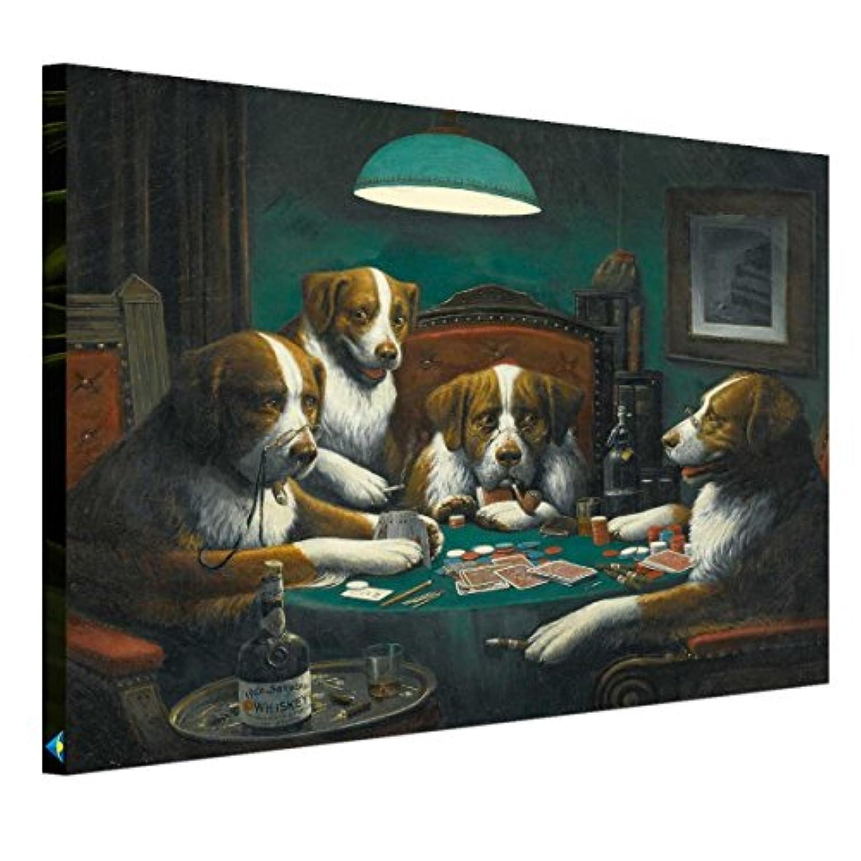 アートパネル モダン 現代 ポーカーをする犬 油絵 壁掛け キャンバス絵画 インテリアアート 横75cm*縦60cm