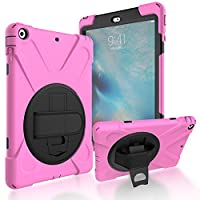 iPad Air/iPad 5 Back Case, DIGIC Hybrid PC Silicone Armor Defender Cover with Hand Strap 360 Degree Rotation Stander Full Protective Tablet Shell for Apple iPad Air/iPad 5, Pink