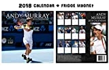Andy Murray Square Wallカレンダー2018 + Andy Murray冷蔵庫マグネット
