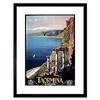 Travel Taormina Sicily Etna Greek Theatre Italy Framed Wall Art Print 旅行ギリシャ語劇場イタリア壁