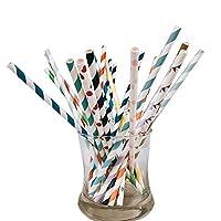 生分解性紙ストロー異なる色とスタイルのパーティー用品、誕生日、結婚式、ブライダル/ベビーシャワーデコレーションとCelebrations 25Roots