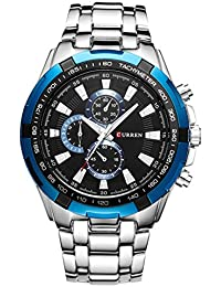 New CURREN ファッション メンズ ステンレススチールバンド アナログ スポーツ クォーツ腕時計CUR007 (Silver+Blue)