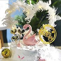 Jiokuy 誕生日ケーキ 装飾品 豪華 飾りセット 可変形 羽根 飾り アクリル札 紙札 スウン LEDライト付き