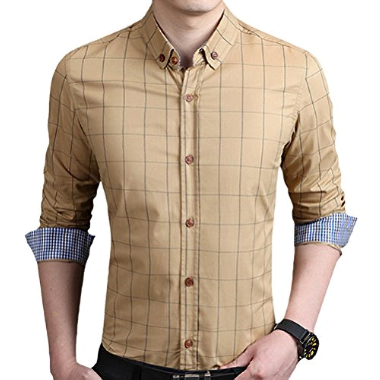ジュラシックパーク蒸留するしたい輝姫 ブラウス  チェック柄  折り袖 長袖  ボタン  メンズ  シャツ カジュアル  ビジネス  スリム ファッション (5XL, カーキー)