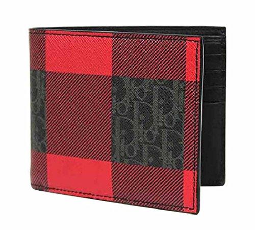 ディオールオム 財布 二つ折り DIOR HOMME コーティングキャンバス チェック柄 RED DARKLIGHT CANVAS WALLET (グレー×ブラック×レッド)【2DEBH027-XIW-H26Q】