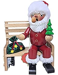 Steinbach署名Santa onベンチMusical GermanクリスマスIncense Smoker新しい