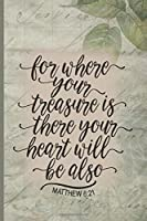 For Where Your Treasure Is There Your Heart Will Be Also Matthew 6:21: Blank Lined Journal with Antique Floral Design