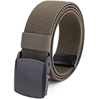 Braided Elastic Stretch Woven Belt with Automatic Sliding Buckle, Canvas Belt With Plastic Buckle (Color : Army green, Size : 120cm)
