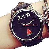 PUMA 腕時計 ZooooM おもしろ ウォッチ シンプル デザイン 文字盤 アナログ 腕 時計 ファッション アクセサリー ユニーク カジュアル メンズ レディース 男性 女性 (スイカ:ブラック) ZM-TABEMOJI-SUBK