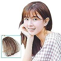 J&S 100%人毛 総手植え ふんわり 空気感 シースルーバング 可愛い小顔になる 前髪ウィッグ 軽く 薄く エクステ つけ毛 耐熱 高温 (ライトブラウン)