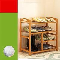 ラック 靴棚 シェルフ オープンシューズボックス シューズラック 天然竹製 可動棚 天板開閉式収納スペース 通気口 組み立て式 収納可能 (4階)