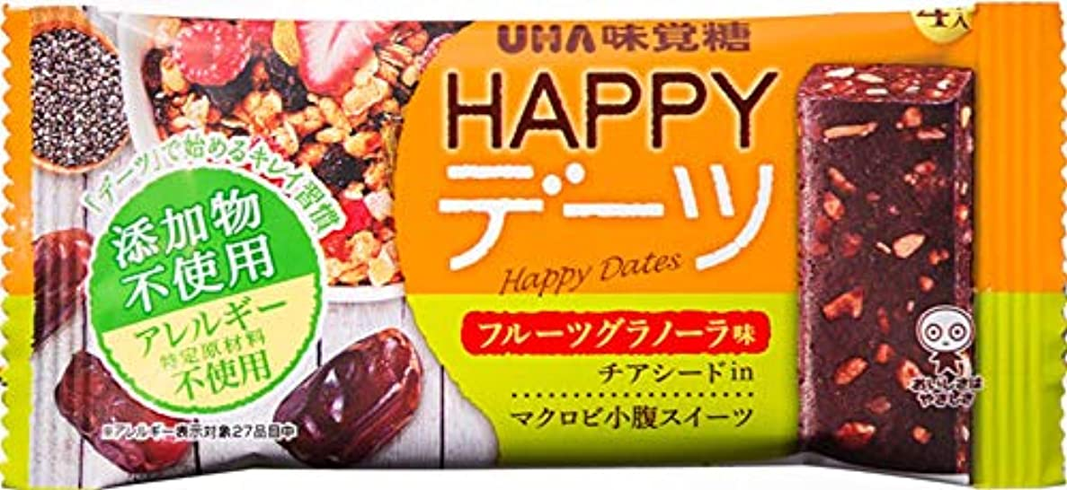 叱る疲労そばに【まとめ買い】UHA味覚糖 HAPPYデーツ フルーツグラノーラ味 チアシード入 マクロビ小腹スイーツ 4本入×10個