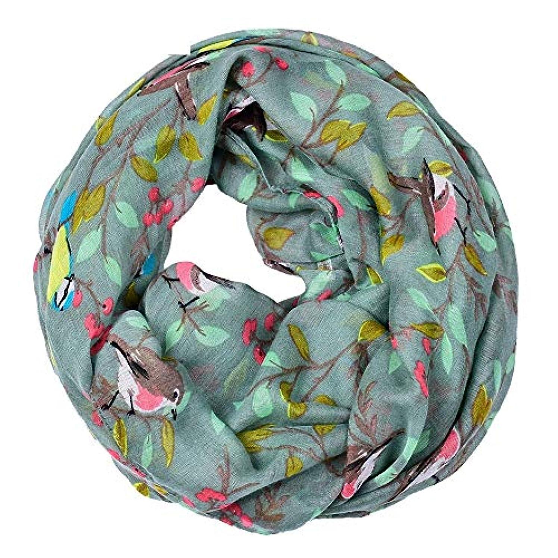 のスコア組立サバントRuiyue チェリーバードプリントスカーフVoile支店バードプリントベージュ糸スカーフ女性用