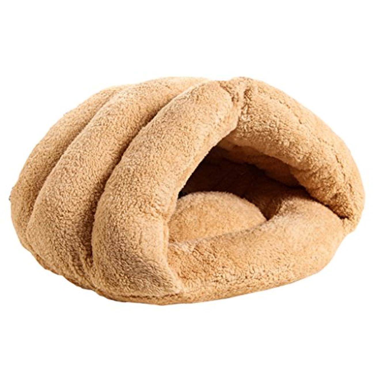 きしむお誕生日トリップ2色選べる 暖かい ペット ハウス 犬 猫 ベッドクッション マットパッド 洞窟 寝袋 贈り物 - ベージュ