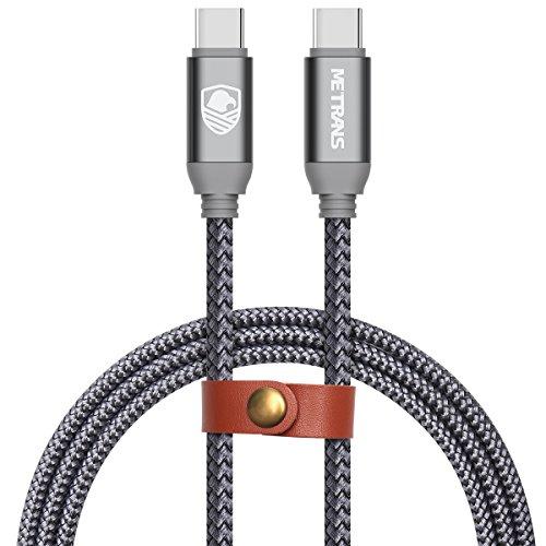 USB-C & USB-C ケーブル Metrans USB-C to USB-C ケーブル USB 3.1 Gen1 PD対応 急速充電 Type C to Type C ケーブル 最大60W/3A 5Gbps ナイロン編み USB2.0 / 3.0 / 3.1 対応 Macbook Pro / iPad Pro / Xperia XZ / Galaxy / Huawei / Nexus 5X / Nintendo Switch等type c機種対応 2M グレー(ナイロン編み 2M)