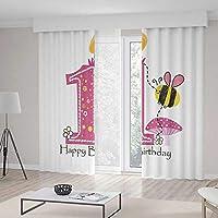 TecBillion 窓用カーテン 遮光 1歳の誕生日 リビングルームや寝室の窓用ドレープ ハチのパーティーケーキのキャンドルプリント 103Wx83L Inches CL401_10_K264xG213_002762