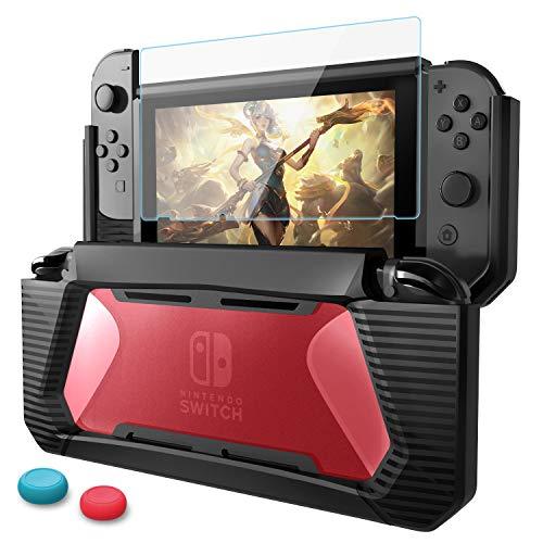 ニンテンドースイッチ カバー Nintendo Switch ガラスフィルム AISITIN TPU 任天堂 switch 保護ケース 人間工学 美観性 全面保護, 強化ガラス液晶保護フィルム【目を守る】 3in1 Nintendo Switch アクセサリ 耐衝撃/着脱簡単/3D Touch対応/硬度9H (透明赤)