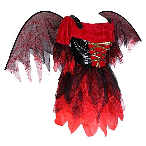 SONONIA 女性 バットの羽デザイン ゾンビの衣装 ハロウィーンパーティー 派手なドレス
