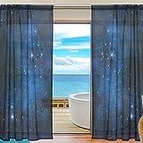 ユキオ(UKIO) 北欧 透け 紗のカーテン レース カーテン 飾り用カーテン 人気,美しい星空 おしゃれ 宇宙柄 ブルー きらきら,透明 スタイルカーテン 2枚セット 幅140丈200 Mサイズ