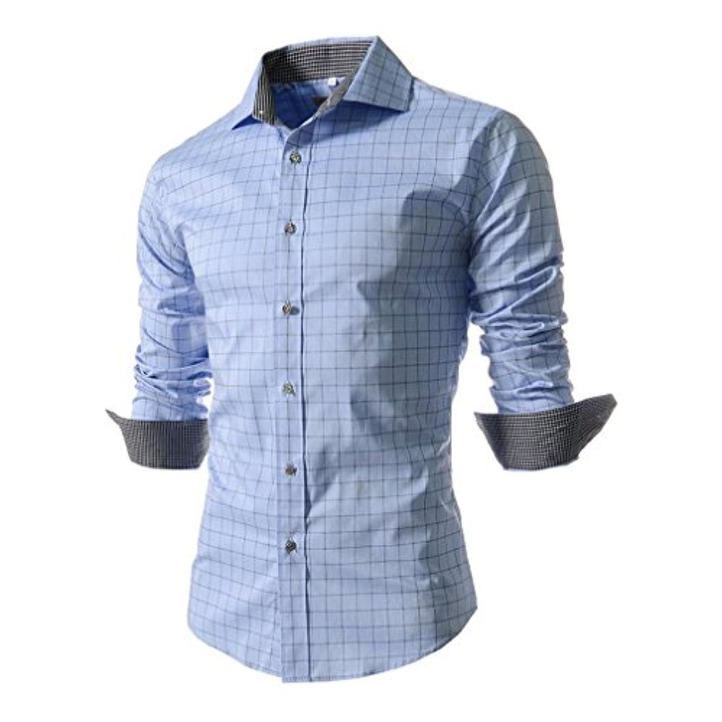 次へ寄生虫アイデアHonghu メンズ シャツ 長袖 プリント チェック柄 ライトブルー M 1PC