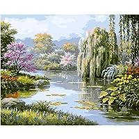 ZDDYX絵画DIYハンドペイントパークウィロー春の風景DIYデジタル絵画デジタル現代壁アートキャンバス絵画ユニークなギフト家の装飾絵画番号で40X50Cmフレーム付き