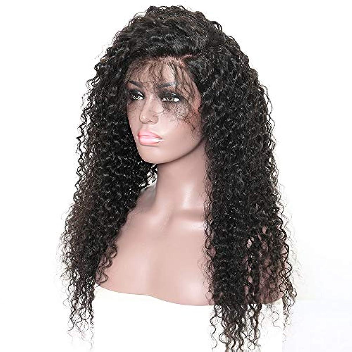 胃有名人スタジオヘアピース ヨーロッパとアメリカのファッションレディースフロントレース黒小ボリュームかつら髪セット長い巻き毛斜め前髪自然な髪かつら