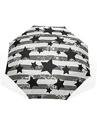 AOMOKI 折り畳み傘 折りたたみ傘 手開き 日傘 三つ折り 梅雨対策 晴雨兼用 UVカット 耐強風 8本骨 男女兼用 星 黒白