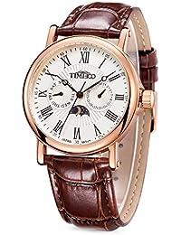Time100  多機能男性腕時計 ローマ数字 日付 曜日表示 昼夜表示 日本製ムーブメント  W80035G (ピンクゴールド)