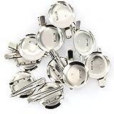 ノーブランド品 セール お買い得 約20個 ヘアクリップ ヘアピン ブローチピン 金具 台座付ワニ型クリップ DIY シルバー 45mm