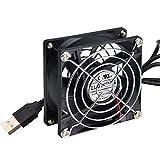 ELUTENG USBファン 8cm PCファン 小型 卓上扇風機 静音 USB 冷却 2500RPM 送風機 PC 冷却 ルーター ミニ USB FAN PS4 / PS3 / ノートパソコン / 水槽 など適用 80mm
