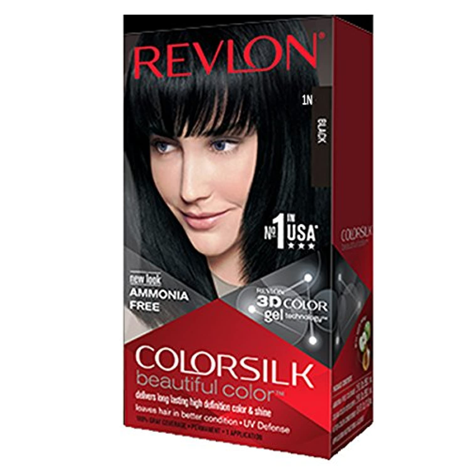 ビデオあざ残基Revlon Colorsilk Hair Color with 3D Color Gel Technology Black 1N