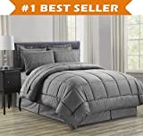 Celineリネン豪華8点bed-in-a-bag Comforter Set includingシートセット。Wrinkle Free–Silky Soft Printed Complete掛け布団セット–hypoallergenic-フル、クイーン、キング、カリフォルニアキング Full/Queen グレー