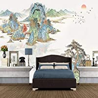Clamsxgus 新しい中国古代の風景画テレビ背景壁カスタム大壁画緑絹布壁紙-200X140Cm