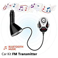 ブラック&シルバー - 2つの異なる色を持つ新しい到着!!! EIncarのBluetooth 4.0 FMトランスミッターワイヤレスオーディオレシーバー音楽ハンズフリーデュアルUSBカーキット充電器MP3プレーヤーのサポートコールレポーターとメモリ機能