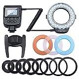 マクロリングライト/マクロリングフラッシュ カメラ/一眼レンズカメラ用 ストロボ フラッシュライト 接写専用 LED 48球 オリンパス/ニコン/ソニーに対応