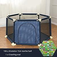屋外の大きな赤ちゃんの男の子の女の子再生庭とボールのパッド多彩な調節可能な洗える子供の幼児の安全Playpen 6パネル (色 : 青)