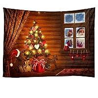 クリスマスタペストリー、新年の暖炉の背景美術装飾壁掛けタペストリーホームデコレーション 自然の風景 (色 : A, サイズ : 230x180cm)