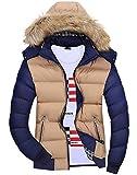 (ライズオンフリーク)RISEONFLEEK メンズ ダウン ジャケット ファー コード フード アウター バイカラー 秋 冬 防寒 長そで GO-22