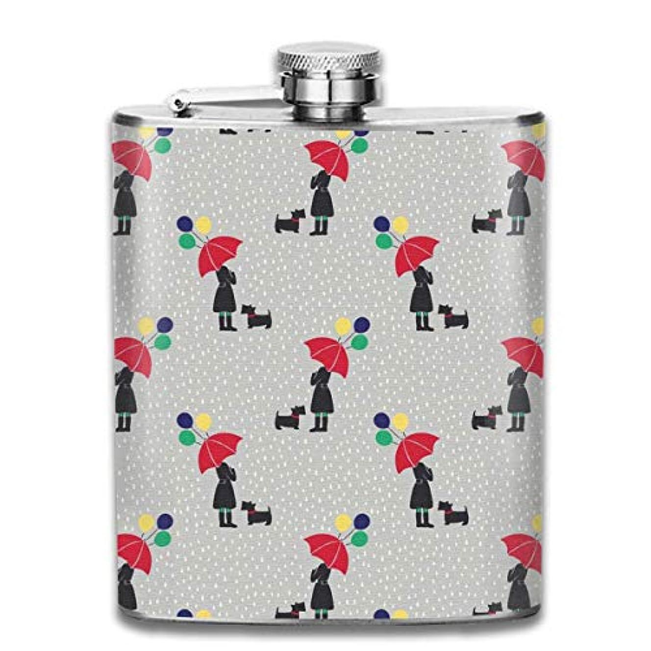 ピンチパスポート分類女の子と犬 雨フラスコ スキットル ヒップフラスコ 7オンス 206ml 高品質ステンレス製 ウイスキー アルコール 清酒 携帯 ボトル