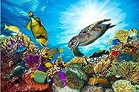 Bzbhart テレビの背景装飾画、壁用ステッカー3D壁画絵画海洋生物カメ写真壁紙壁画エンボステレビの背景レストラン研究キッチン寝室-120cmx100cm